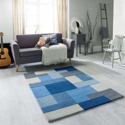 Lexus Geometric Style Rug - Blue Room Shot