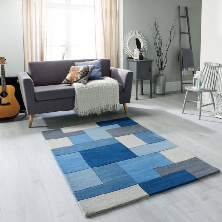 Lexus Geometric Style Rug - Blue Room Shot