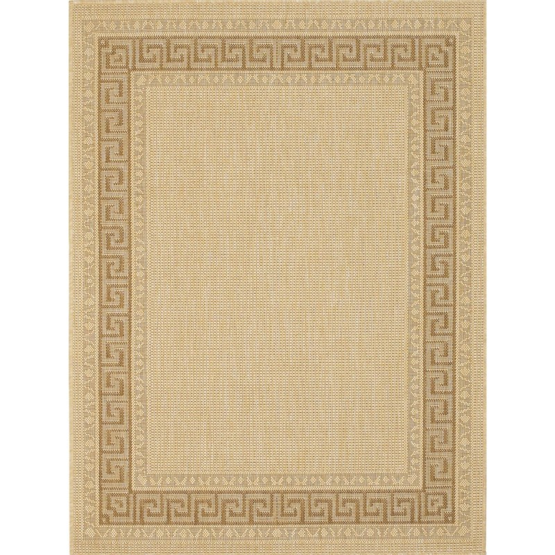 Greek Key Flatweave Rug -  Beige
