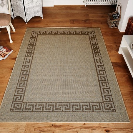 Greek Key Flatweave Rug - Beige Room Shot