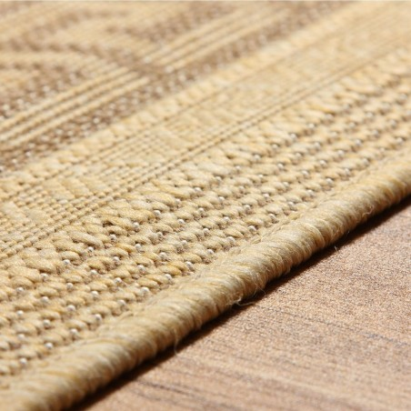 Greek Key Flatweave Rug - Beige Edge Detail