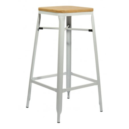 Turin Bar Stool, white front angled view