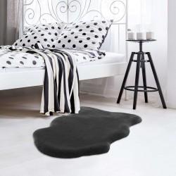 Elds Sheepskin-Style Rug - Anthracite Room Shot