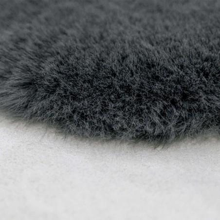 Elds Sheepskin-Style Rug - Anthracite Pile Detail
