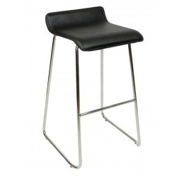 Baceno Fixed Height Curved Bar Stool, black, front angled view