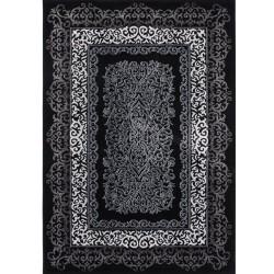 Pluda Rectangular Patterned Rug - Black