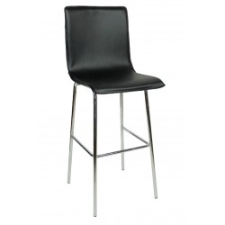 Giola Fixed Height Bar Stool, black front angled view