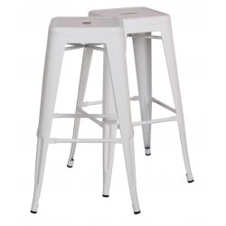 2 Oslo Bar Stools, white front angled view