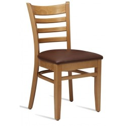 Wooden Dining chair with brown faux leather seat in Light Oak