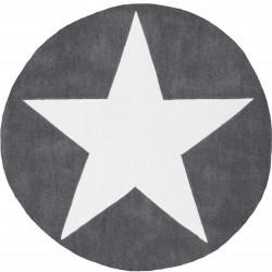 Crove Star Motif Round Rug - Grey