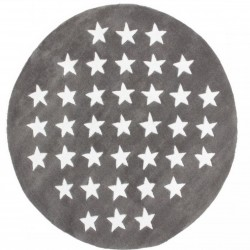 Crove Star Patterned Round Rug - Grey