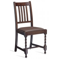 Traditional Walnut wooden dining chair with brown leather seat