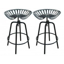 Pair of Tractor Bar Stools, black front view