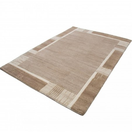 Paro Patterned Rug - Beige Angled View