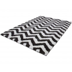 Arras Zigzag Patterned Rug - White Angled View
