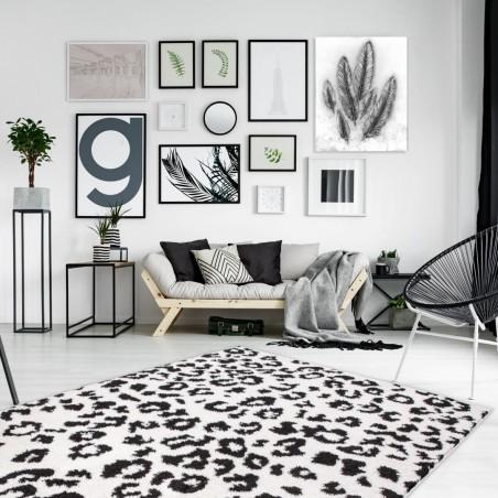 Onano Leopard Patterned Rug - White  Room Shot