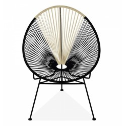 Honor Woven Lounge Chair, black and cream front view