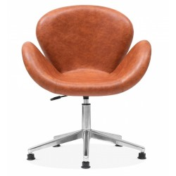 Keene Faux Leather Swan Chair, tan, front view