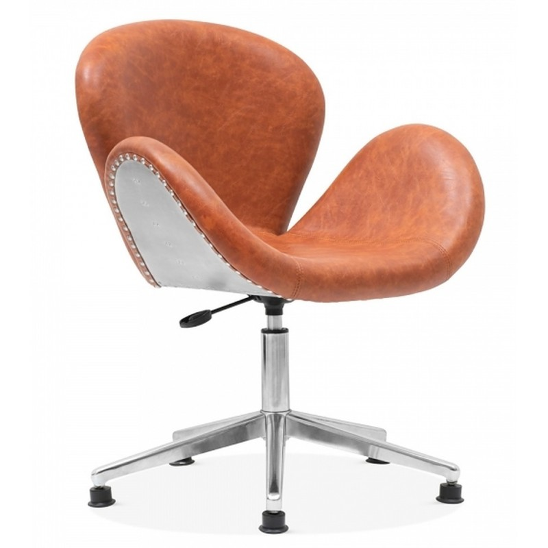 Keene Faux Leather Swan Chair, tan, front angled view