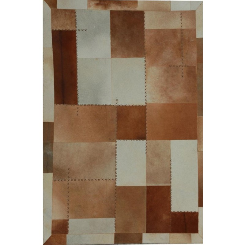 Zocca Leather Patchwork Rug - Brown