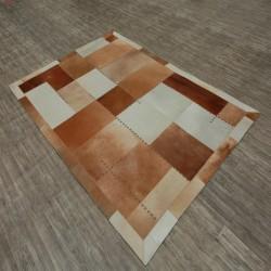 Zocca Leather Patchwork Rug - Brown Floor Shot