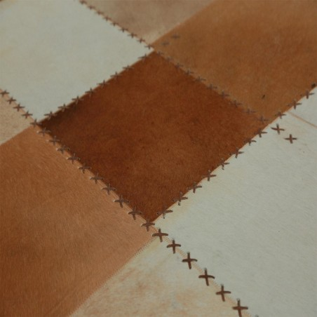 Zocca Leather Patchwork Rug - Brown pattern Detail