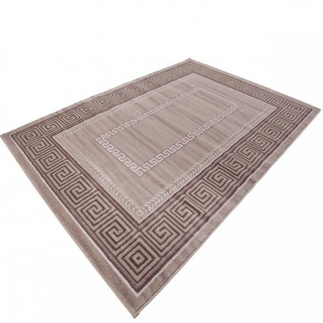 Sero Bordered Rug - Beige Angled View