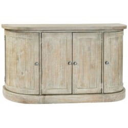 Bradford Large 4 Door Rounded Light Wood Sideboard, angle view
