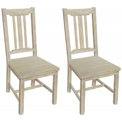 Solid Light Wood Dining Chair (Set of Two)