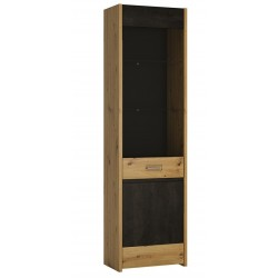Andorra Display Cupboard - Tall & Narrow, angle view