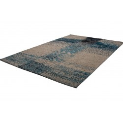 Ordos Patterned Rug - Turquoise Angled View