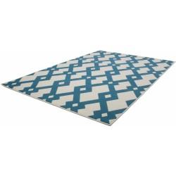 Ankara Geometric Rug - Blue Angled View