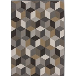 Ankara Cube Patterned Rug - Brown