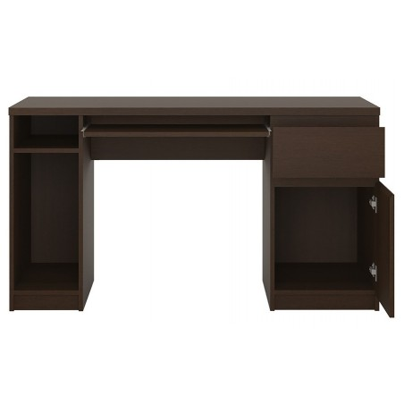 Quillan Twin Pedestal Desk, open door and drawer detail
