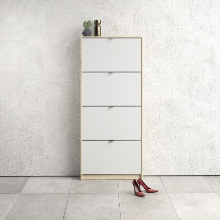 Barden Shoe Cabinet in white/oak, room shot 1