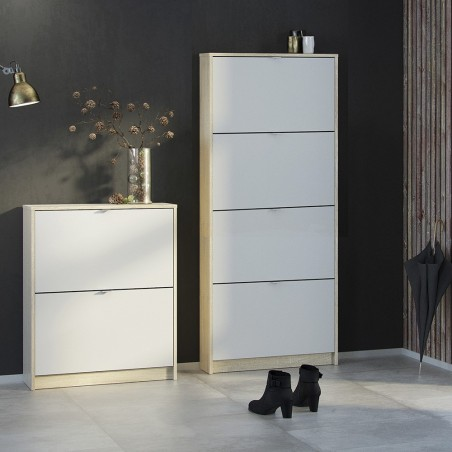 Barden Shoe Cabinet in white/oak, room shot 3