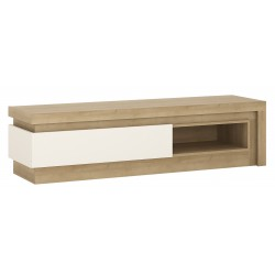 Darley 1 Drawer TV Cabinet With Open Shelf in light oak and white gloss, angle view