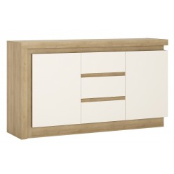 Darley 2 Door 3 Drawer Sideboard in light oak and white gloss, angle view