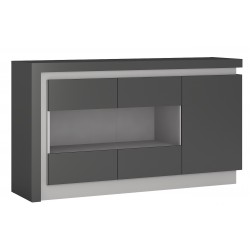 Darley 3 Door Glazed Sideboard in two-tone grey gloss, angle view