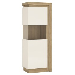 Darley Narrow Display Cabinet (LHD) in light oak and white gloss, angle view
