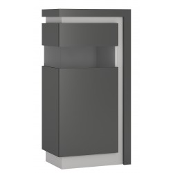 Darley Display Cabinet (LHD) in two-tone grey gloss, angle view