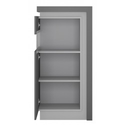 Darley Display Cabinet (LHD) in two-tone grey gloss, open door detail