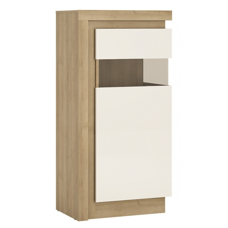 Darley Display Cabinet (RHD) in light oak and white gloss, angle view