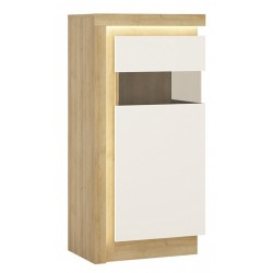 Darley Display Cabinet (RHD) in light oak and white gloss, lit detail