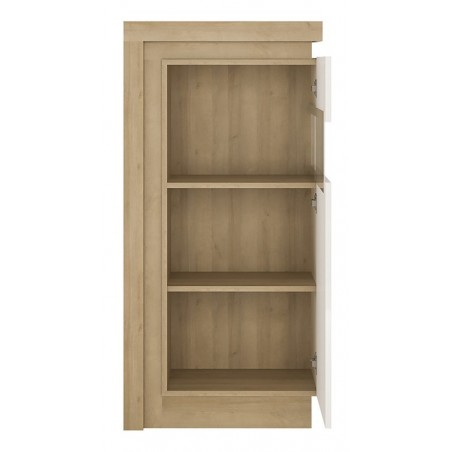 Darley Display Cabinet (RHD) in light oak and white gloss, open door detail