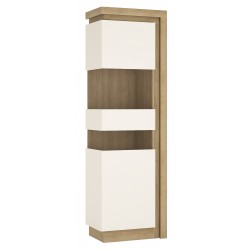 Darley Tall Narrow Display Cabinet (LHD) in light oak and white gloss, angle view