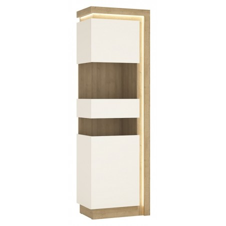 Darley Tall Narrow Display Cabinet (LHD) in light oak and white gloss, lit detail