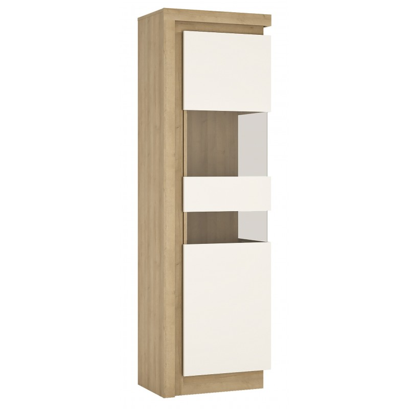 Darley Tall Narrow Display Cabinet (RHD) in light oak and white gloss, angle view