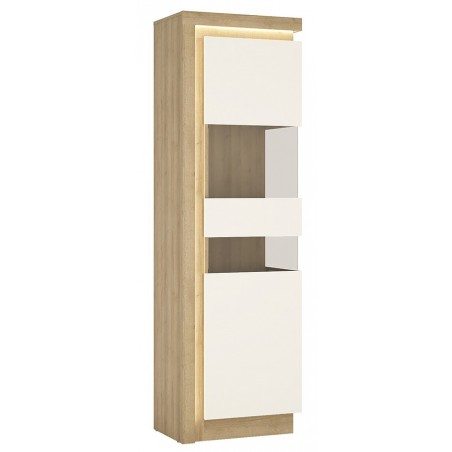 Darley Tall Narrow Display Cabinet (RHD) in light oak and white gloss, lit detail