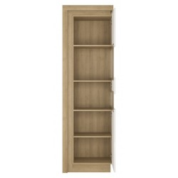 Darley Tall Narrow Display Cabinet (RHD) in light oak and white gloss, open door detail
